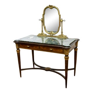 1900s Vintage Italian Mirrored Green Marble-Top Vanity For Sale