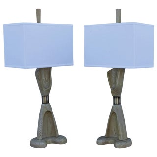 1960s Cerused Oak Sculptural Table Lamps by Modeline For Sale