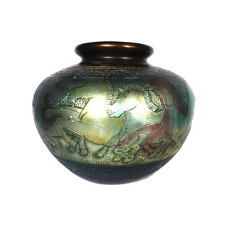 Incised Brass Pot With Horses For Sale