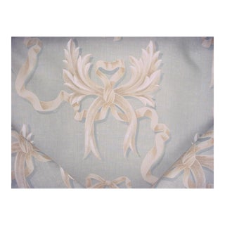 Mulberry Ophelia's Bow Pale Aqua Printed Linen Upholstery Fabric - 18 Yards For Sale