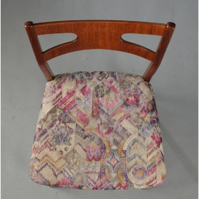 Floral Teak Dining Chairs, 1960s - Set of 4 For Sale - Image 4 of 5