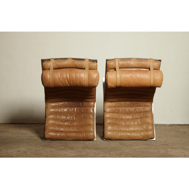 Pair of Arne Norell Tan Leather Ari Chairs, Norell Mobler, Sweden, 1970s For Sale - Image 9 of 11