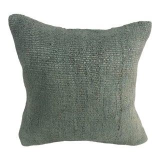 Turkish Anatolian Handmade Turquoise Kilim Pillow Cover For Sale
