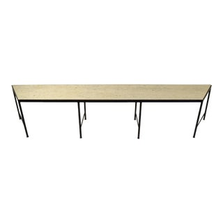 Vintage Mid-Century Modern Black Iron Table Bench