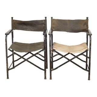Distressed Miltary Folding Director's Chairs C.1940 For Sale