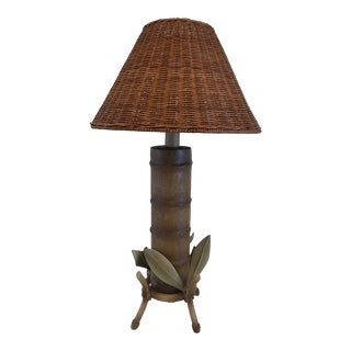 Vintage Faux Bamboo Iron Lamp With Wicker Shade For Sale