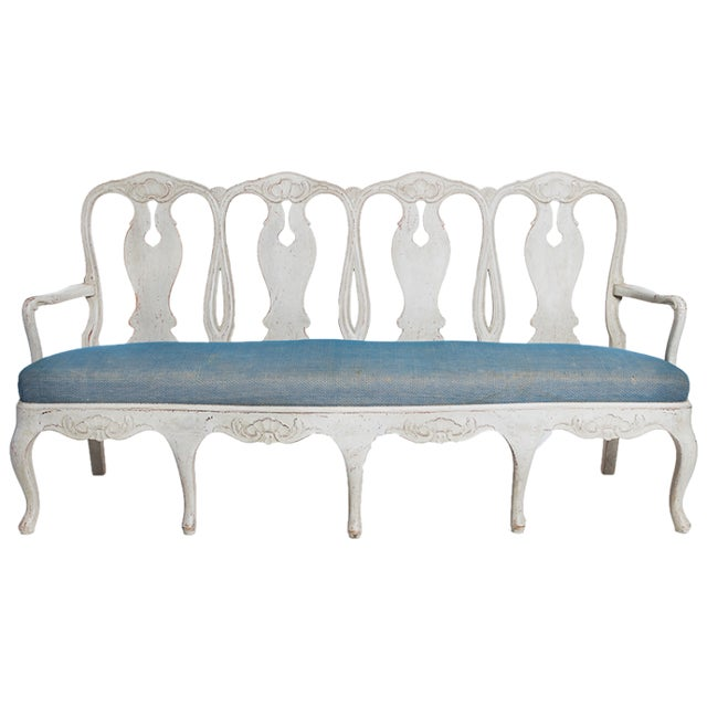 Late 19th Century Swedish Rococo Bench For Sale - Image 4 of 4