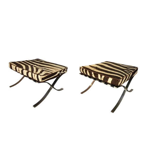 Barcelona Stools With Zebra Hide Cushions - A Pair For Sale