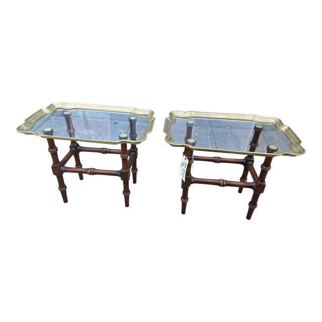 Vintage Gilded Moroccan End Table Pair For Sale
