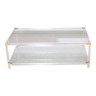 Two-Tier Lucite and Brass Coffee Table in the Style of Charles Hollis Jones