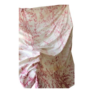 Antique French Faded Bird Design Timeworn Toile Curtain Drape For Sale