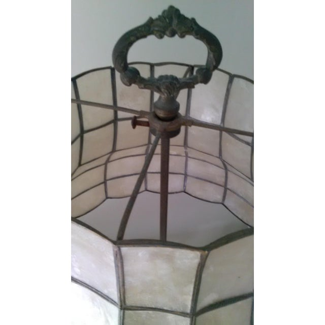 Antique Steel & Brass Roses Lamp - Image 5 of 9