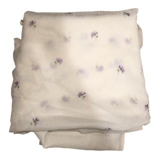 Kravet Sheer Fabric With Purple Embroidered Flowers For Sale