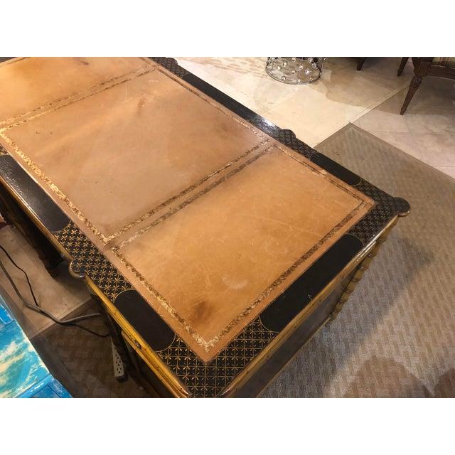 Regency Faux Bamboo Double Pedestal Partners Desk For Sale - Image 4 of 13