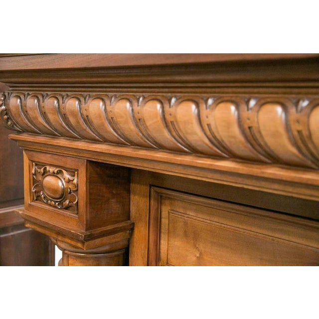 Brown Monumental French Renaissance Revival Walnut Fireplace with Trumeau Overmantel For Sale - Image 8 of 11