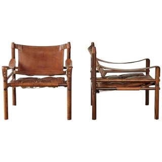 Superb Pair of Arne Norell Rosewood Safari Chairs, Sweden, 1970s For Sale