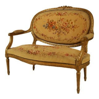 French Louis XVI Aubusson Loveseat For Sale