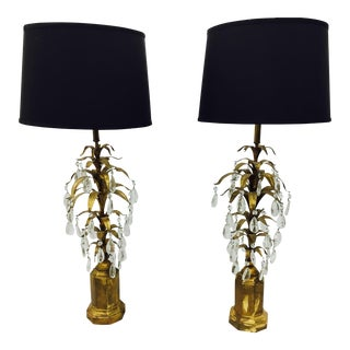 Antique Gilt Leaf Table Lamps - A Pair