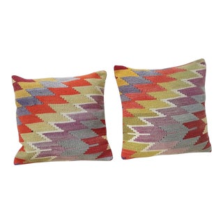 Vintage Handmade Kilim Pillow Covers - A Pair For Sale