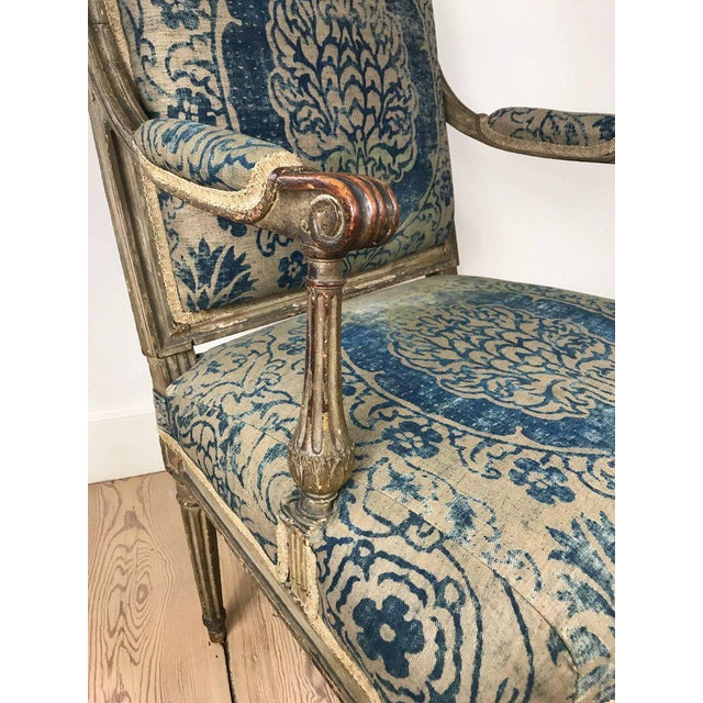 18th Century Louis XVI Bergere Chair With Fortuny Upholstery - Image 5 of 8