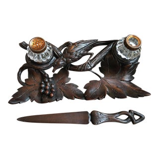 Antique Carved Wood Black Forest Desk Set Inkwell Bird Tray with Letter Opener For Sale