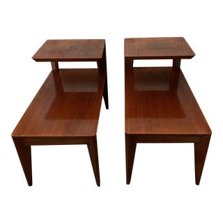 Mid Century Modern Sterling Two Tier Step Side End Tables With Drawer - a Pair For Sale