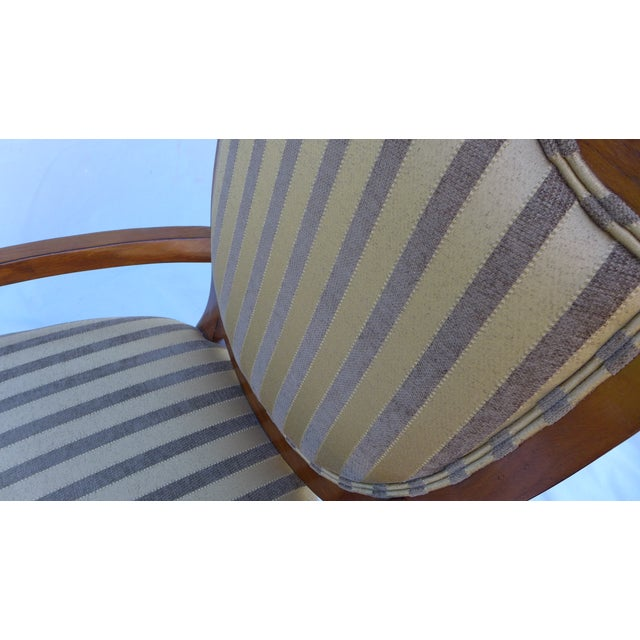 Shield-Back Striped Armchair For Sale - Image 4 of 7