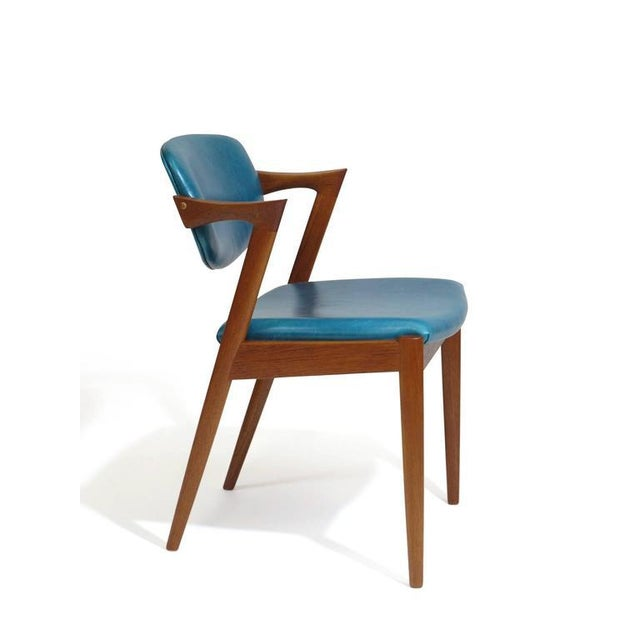 Wood Six Kai Kristiansen Teak Danish Dining Chairs in Turquoise Leather, 20 Available For Sale - Image 7 of 11