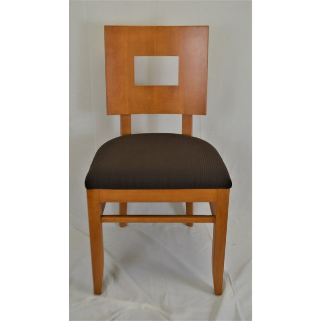 Cinnamon Contemporary Square Back Wooden Dining Chair For Sale - Image 8 of 8