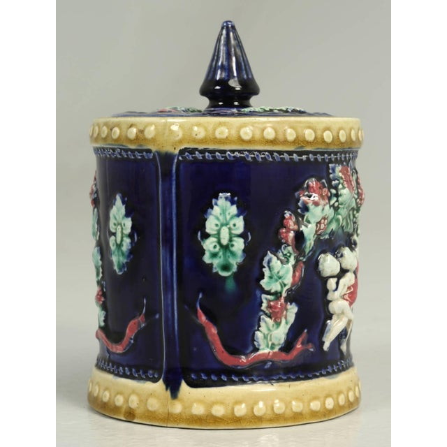 Antique English Condensed Milk Container with its original lid and glazed in a deep rich cobalt blue. Decorated with...