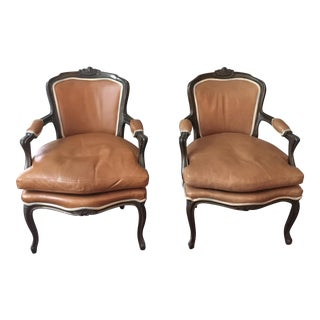 French Louis XV Style Reproduction Carved Frame Fauteuil Arm Chairs - A Pair