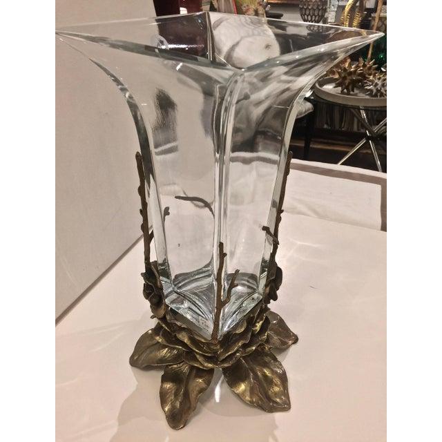 Crystal & Carved Brass Vase - Image 3 of 5