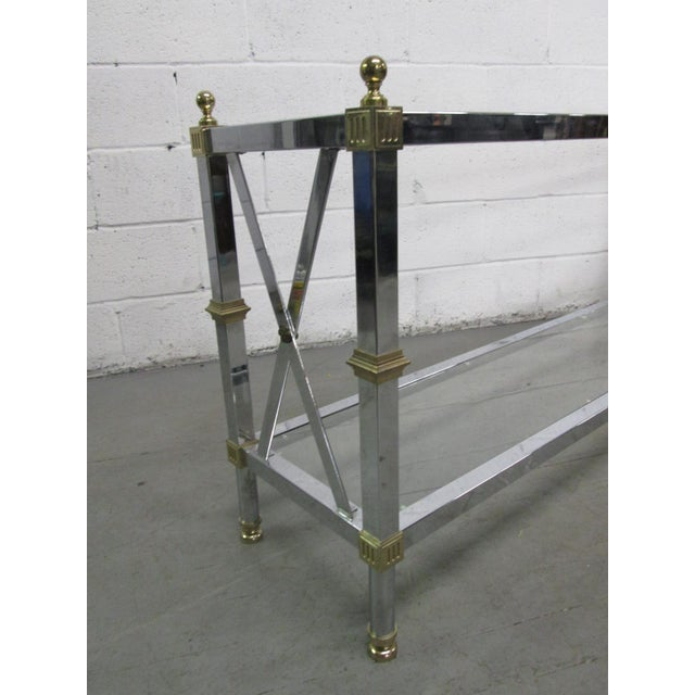 Maison Jansen Chrome and Brass Console Table For Sale - Image 4 of 5