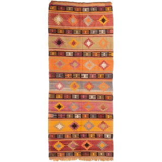 Contemporary Geometric Wool Kilim Rug - 4′2″ × 10′3″ For Sale