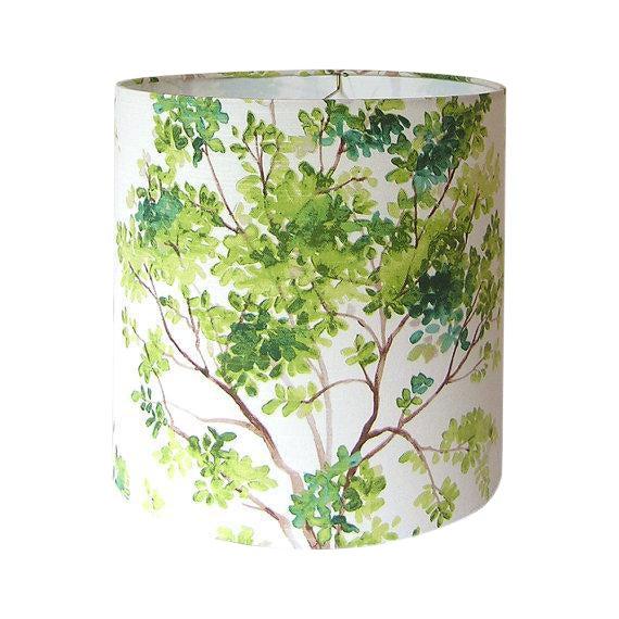 Vilber Trees Green Custom Drum Lamp Shade For Sale