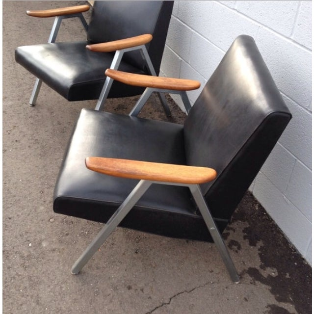 Mid-Century Modern Mid-Century Low Vinyl Black Chairs - A Pair For Sale - Image 3 of 5