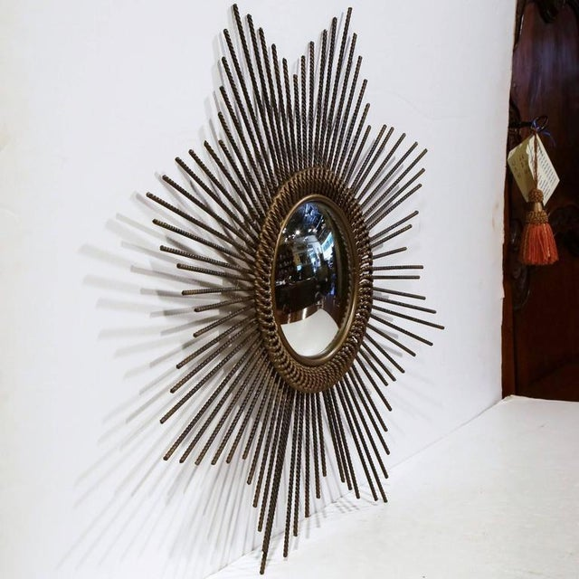 French Early 20th Century French Sunburst Mirror With Antique Bronze Finish For Sale - Image 3 of 9