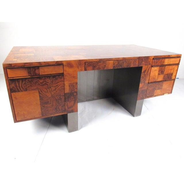 "Paul Evans ""Cityscape"" Burlwood Executive Desk For Sale - Image 13 of 13"