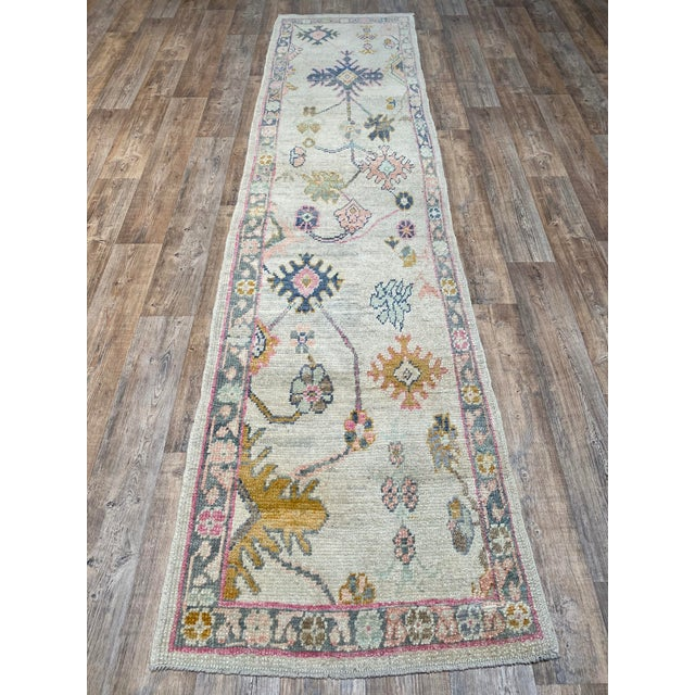 "1990s ""Bellwether Rugs"" Colorful Oushak Runner For Sale - Image 5 of 5"