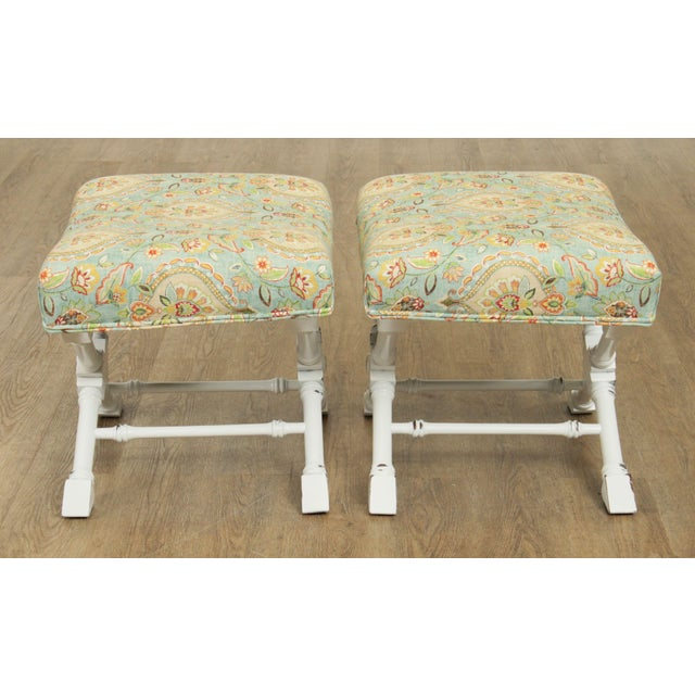Regency Style Custom X Base White Painted Pair Benches For Sale In Philadelphia - Image 6 of 13
