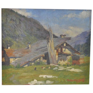 1920s Mountain Home Landscape Painting For Sale