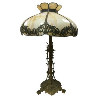 Arts & Crafts Sculpted Slag Glass Tiffany Style Table Lamp For Sale