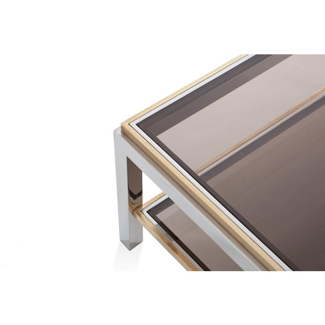 Brass Willy Rizzo Rectangular Coffee Table in Brass, Chrome and Glass For Sale - Image 7 of 8