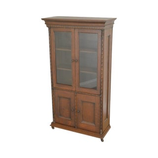 Antique Miniature Victorian Oak 2 Door Bookcase Cabinet For Sale