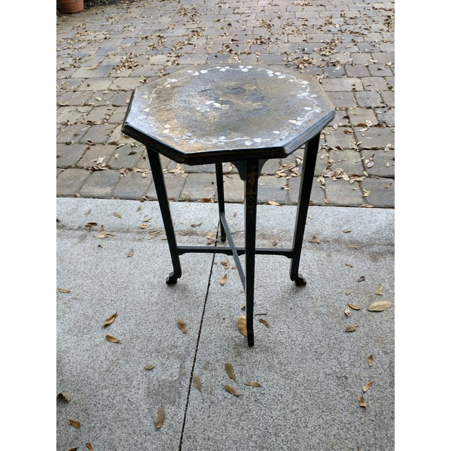 French Provincial Antique Paper Mache Table With Inlay Mother of Pearl For Sale - Image 3 of 10