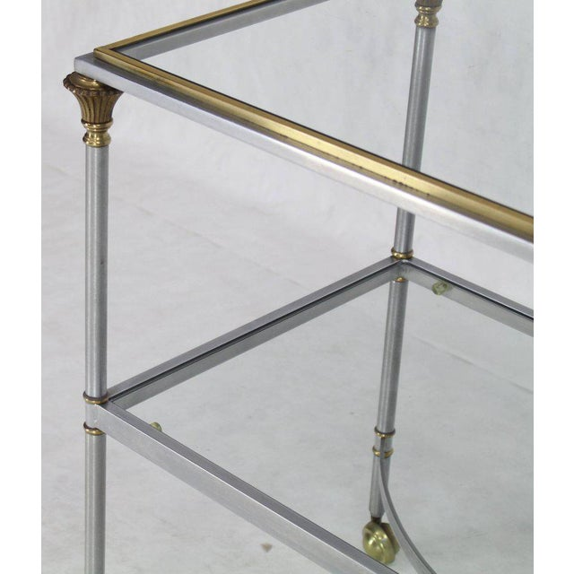 Mid 20th Century Mid Century Modern Two-Tier Brass Chrome Glass Rectangular Serving Bar Cart For Sale - Image 5 of 9