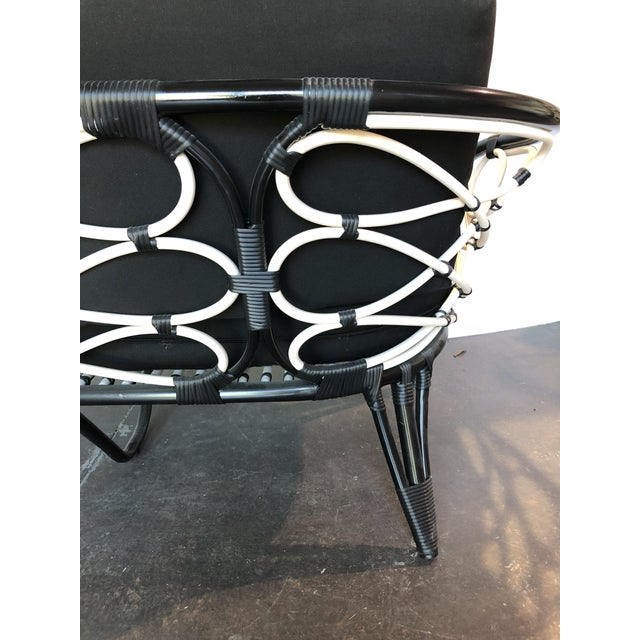 2010s David Francis Outdoor Black and White Loveseat For Sale - Image 5 of 7