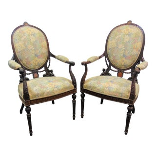 19th C Regency Mahogany Carved & Inlaid Chairs - a Pair For Sale