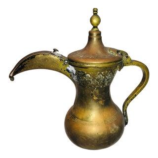 Antique Brass & Copper Bedouin Finjan Coffee/Teapot For Sale