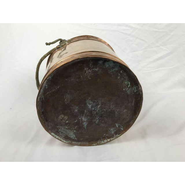 Vintage Rustic Primitive Country Copper Pail Bucket Cast Bronze Handle For Sale In Portland, OR - Image 6 of 7